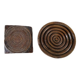 Wood Carved Textile Stamps - a Pair For Sale