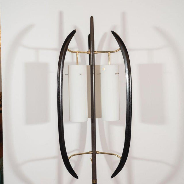 Mid-Century Modern Italian Midcentury Sculptural Ebonized Walnut, Brass & Frosted Glass Floor Lamp For Sale - Image 3 of 10