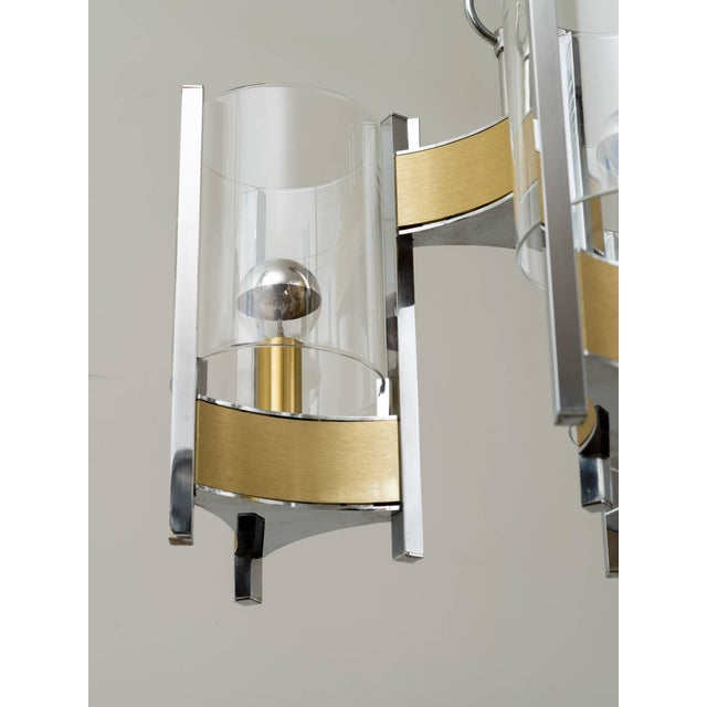 Metal Sciolari Brushed Brass and Chrome Hurricane Glass Chandelier For Sale - Image 7 of 8