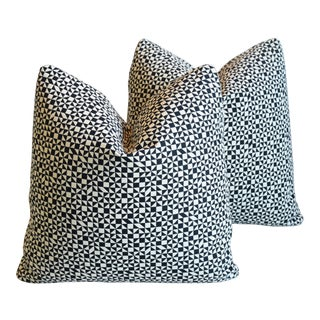 "Designer Alexander Girard Abstract Feather/Down Pillows 19"" Square - Pair For Sale"
