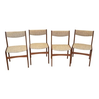 Vintage Danish Dining Chairs, Made in Denmark, 1960's - Set of 4 Erik Buch For Sale