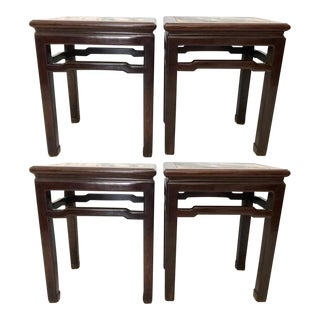 Antique Solid Rosewood 'Mahjong' Stools / End Tables With Dali Lake Marble Tops - Set of 4 For Sale
