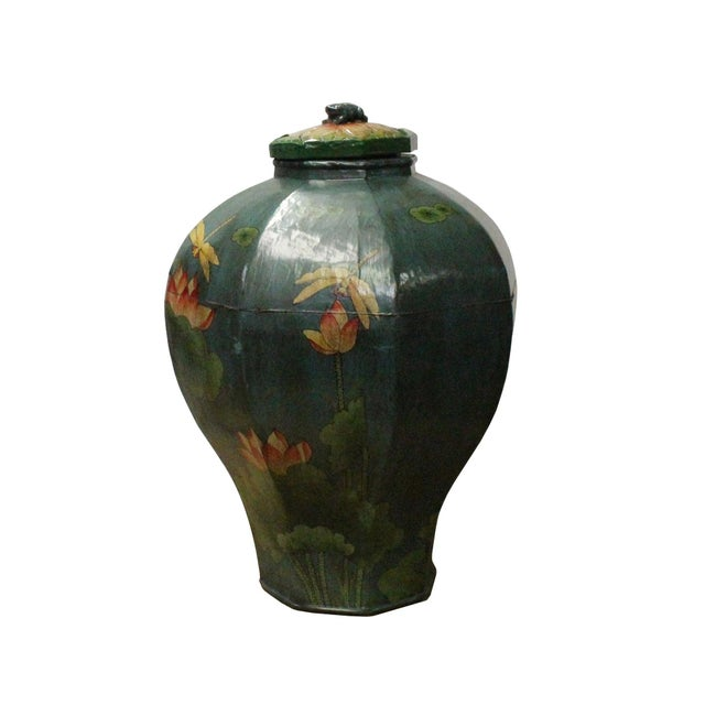 Chinese Village Vintage Wood Octagon Teal Blue Lacquer Jar Shape Display For Sale - Image 5 of 7