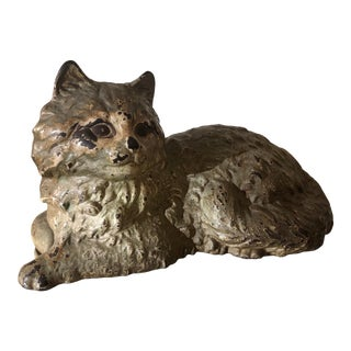 Antique Cast Iron Hubble Recumbent Cat Doorstop For Sale