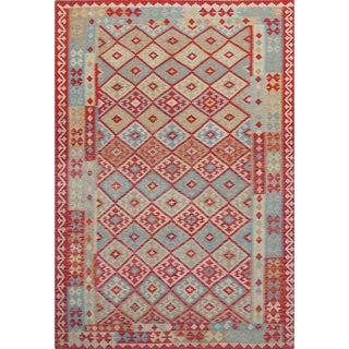 Handmade Wool Reversible Kilim Rug - 6′10″ × 9′11″ For Sale