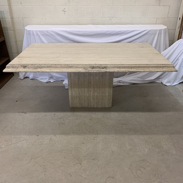 Italian Travertine Marble Dining Table For Sale - Image 13 of 13