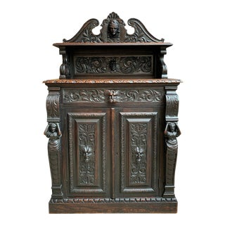 19th Century English Carved Oak Victorian Wine Cabinet Bookcase Sideboard Server Lion For Sale