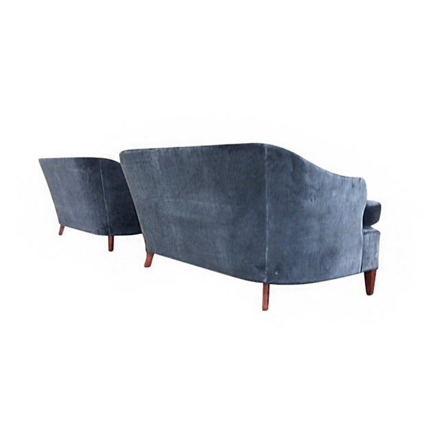 Textile 1930s Tufted Art Deco Settees Reupholstered in Brushed Velvet - a Pair For Sale - Image 7 of 10