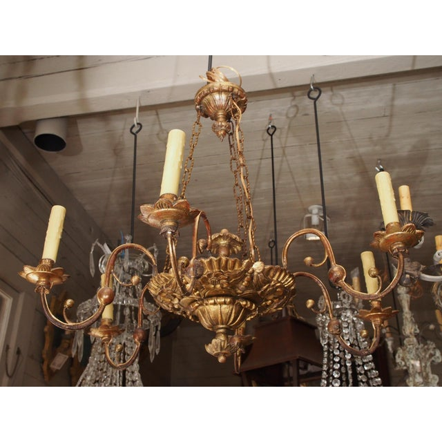 Hand carved giltwood 6 iron arm chandelier . The main plateau is suspended by 3 chains from the top canopy. Exquisite...