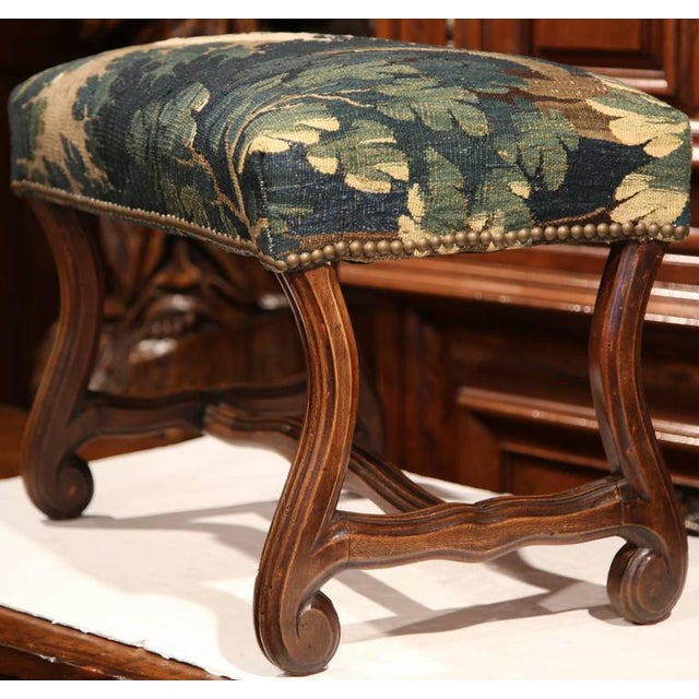 Late 19th Century French Louis XIII Carved Walnut Stool With Aubusson Tapestry - Image 2 of 9