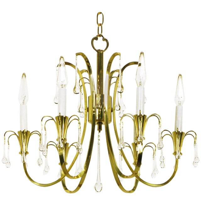 Modernist Brass Chandelier With Raindrop Crystals For Sale