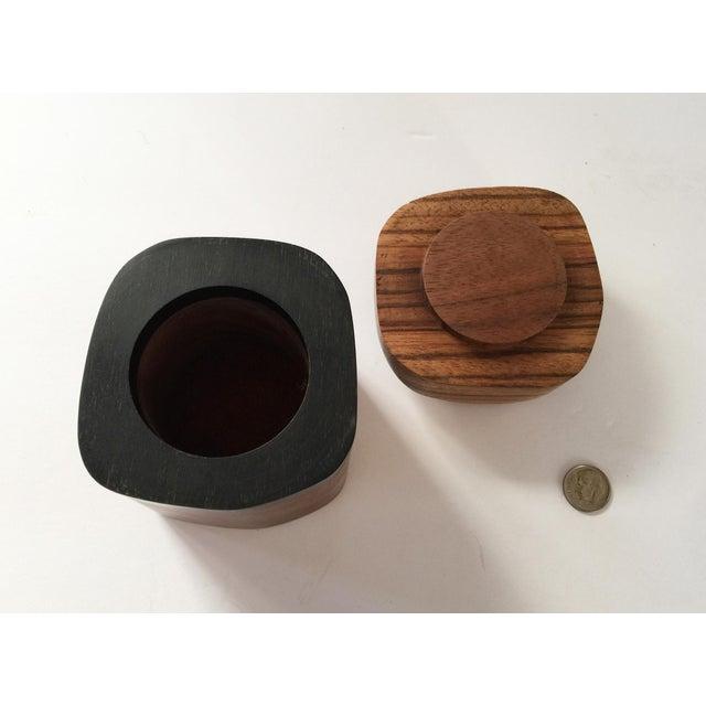 Artisan Walnut Ebony and Zebra Wooden Covered Box - Image 4 of 8