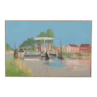 Mid-C.Town Ferry Bridge Landscape by Raymond Coumans For Sale