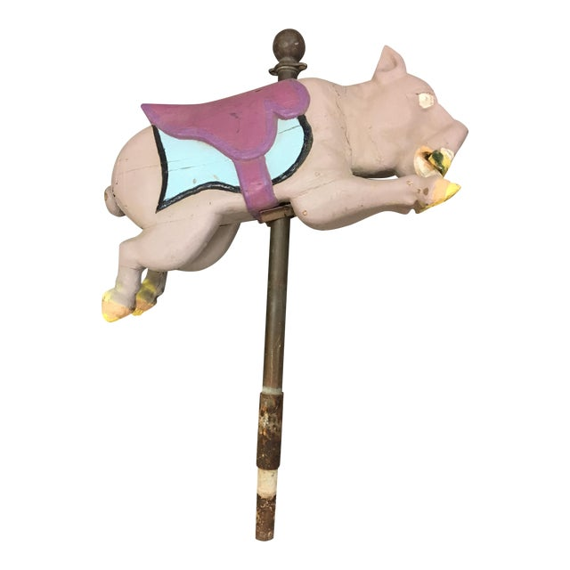 Antique Carousel Ride Wooden Pig - Image 1 of 8