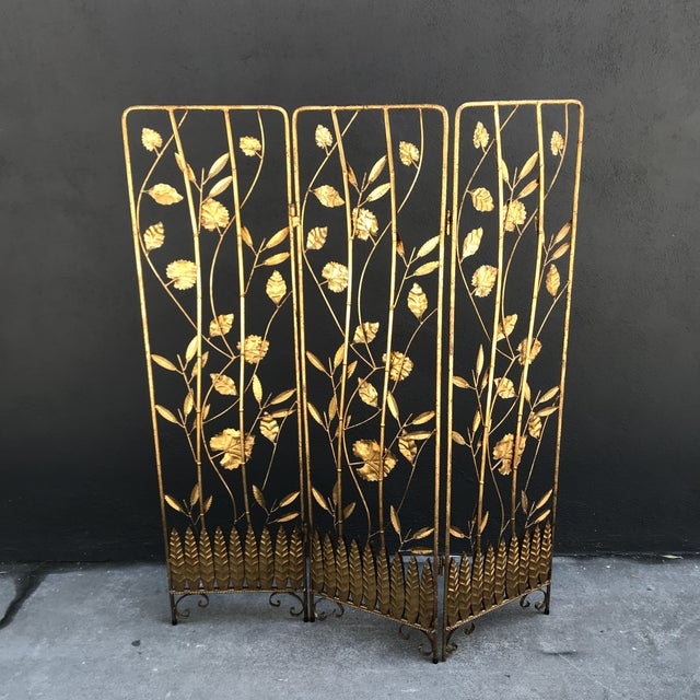 Vintage Italian Gilt Ironwork Tole Screen For Sale - Image 4 of 10