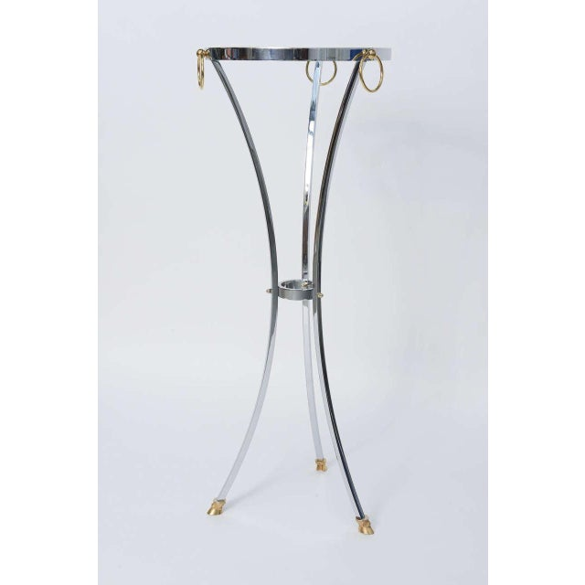 Empire Maison Jansen Empire Style Chrome and Brass Pedestal Table For Sale - Image 3 of 12