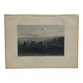 "Antique Original Engraving on Paper ""Jerusalem"" by J. Cramb Circa 1890 For Sale"