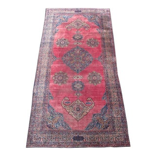 Oversized Persian Kirman Carpet - 10′ × 22′ For Sale