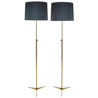 Mid-Century Gilt Bronze Standing Lamps on Tripod Feet - a Pair For Sale