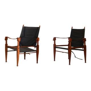 Pair of Vintage Safari Chairs by Kaare Klint for Rud. Rasmussen For Sale