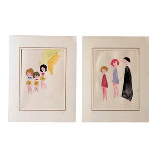 Whimsical Drawings of Italian School Children For Sale
