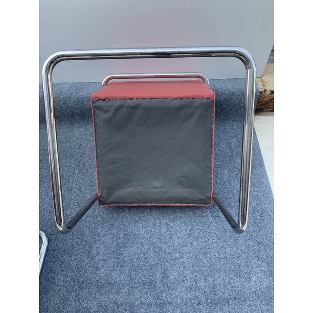 1970s Chrome Cantilever Chairs Attributed to Thonet - Set of 3 For Sale - Image 10 of 12