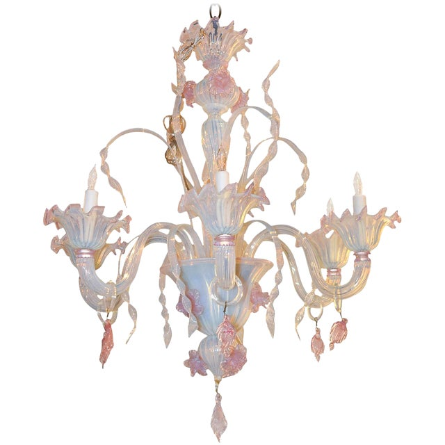 Antique Murano Blown Glass Opalescent Chandelier For Sale