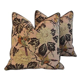 "Custom Tailored Chinoiserie Floral & Birds Feather/Down Pillows 26"" Square - Pair For Sale"