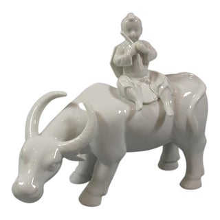 Antique Chinese Blanc De Chine Porcelain Group of Cowboy and Water Buffalo
