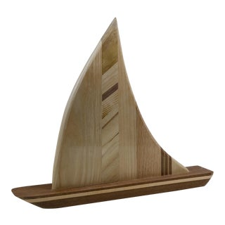 Hand-Crafted Wooden Sailboat - Light Recycled Wood For Sale