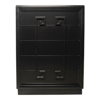 Tall Black Kittinger Greek Key 5 Drawer Chest For Sale