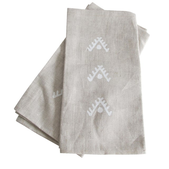 Geometric Brown Linen Napkins- A Pair - Image 1 of 4