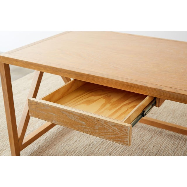 Tan Mid-Century Modern Oak Architectural Writing Table Desk For Sale - Image 8 of 13