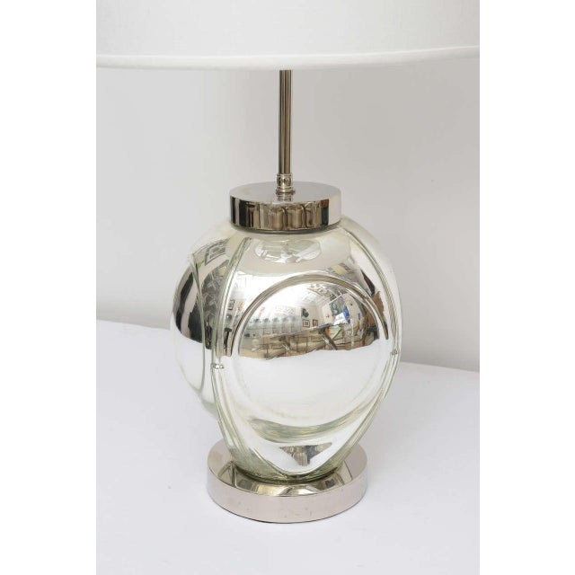 1970s Mid-Century Modern Polished Chrome & Mercury Glass Table Lamp Base For Sale - Image 5 of 10