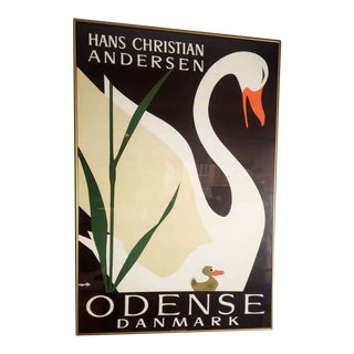 Original Vintage Hans Christian Andersen Swan Framed Print For Sale
