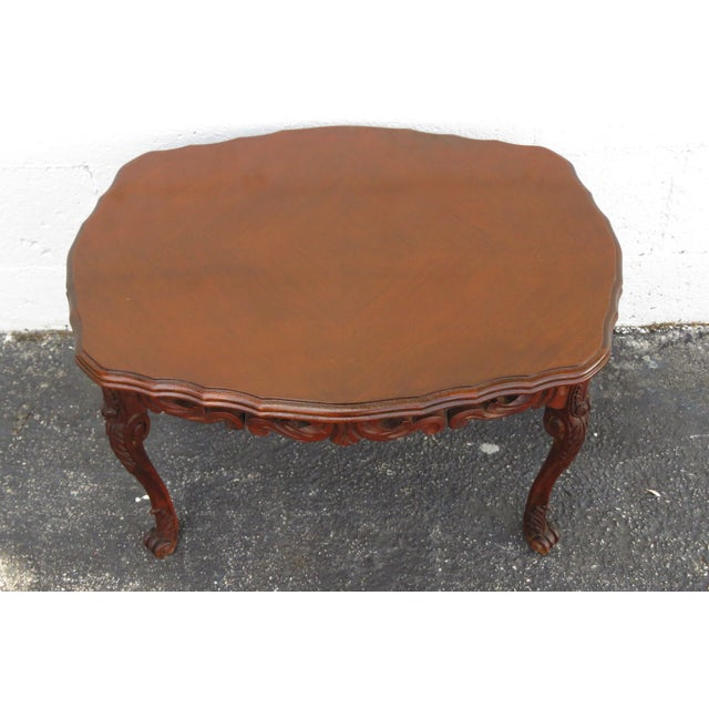 French Early 1900s Hand Carved Coffee Table With Serving Glass Tray 2357 For Sale - Image 4 of 11