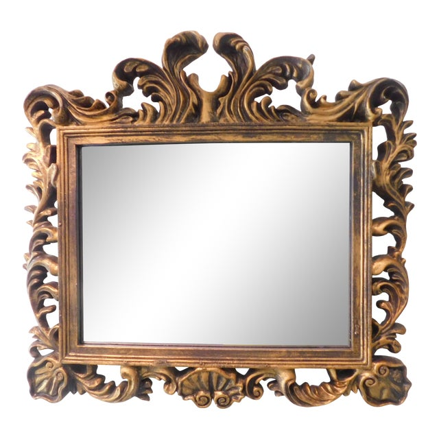 Vintage Baroque Style Gold Leaf Beveled Wall Mirror For Sale