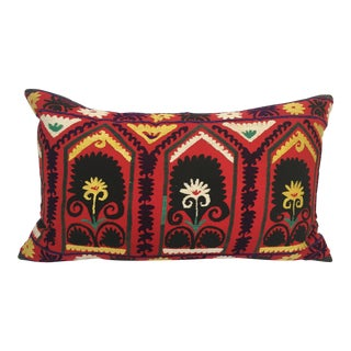 Vintage Large Suzani Embroidery Decorative Throw Pillow From Uzbekistan For Sale