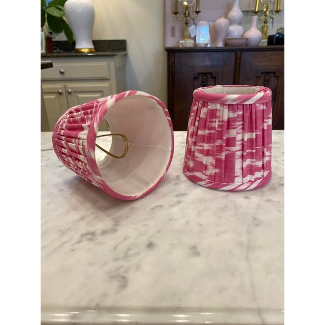 Boho Chic Custom Lamp Sconce Shades in Pink Ikat Fabric - Pair For Sale - Image 3 of 9