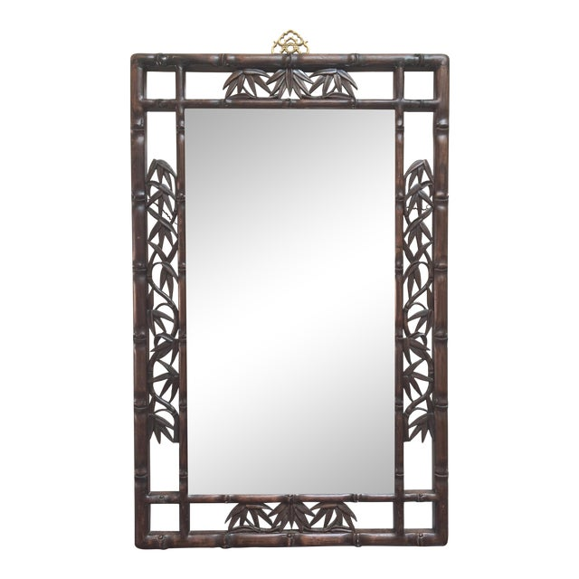 Faux Bamboo Carved Wood Mirror For Sale