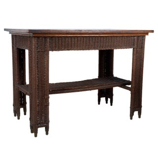 20th Century Arts & Crafts Wicker Library Table For Sale