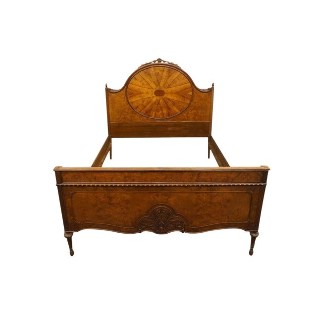 20th Century French Berkey & Gay Burled Walnut Full Size Bed For Sale