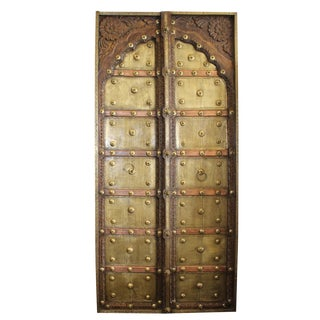 Antique Indian Brass Copper Iron Architectural Doors For Sale
