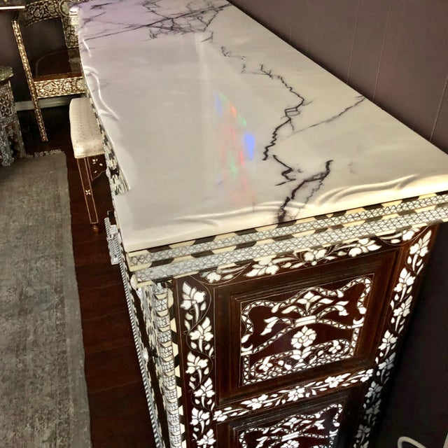 2010s Moorish All White Syrian Mother of Pearl Inlay Dresser For Sale - Image 5 of 10