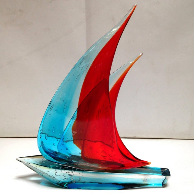 Italian vintage double sail boat hand blown and crafted in blue and red Murano glass by Sergio Constantini, signed on the...