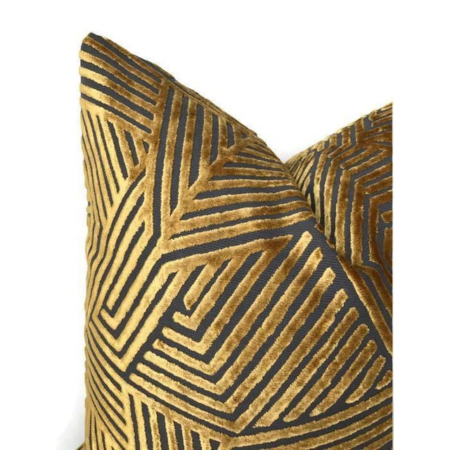 Traditional Golden Maze Velvet Pillow Cover For Sale - Image 3 of 5