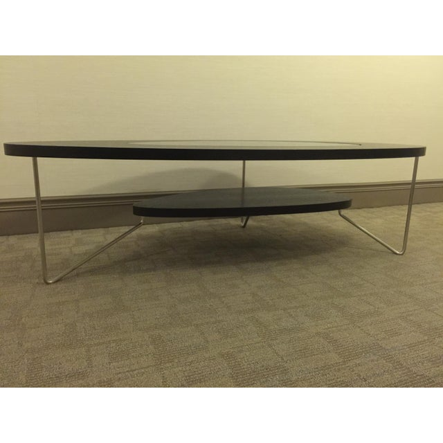Modern Oval Wood & Glass Coffee Table - Image 7 of 7