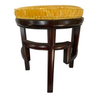 1960s Vintage Custom Made Wooden Demilune Foot Stool For Sale