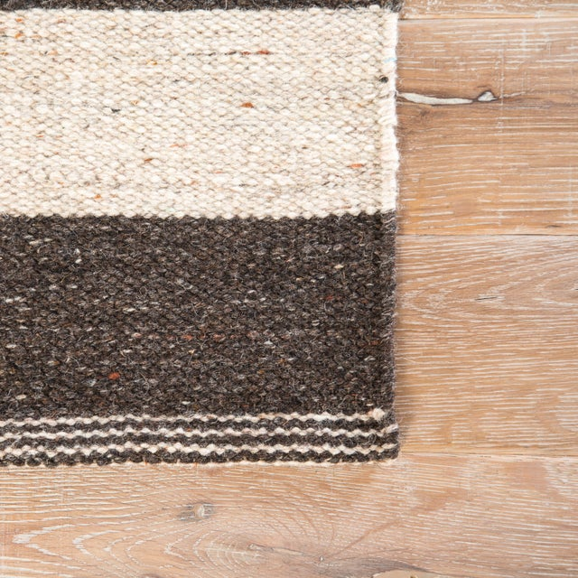 Contemporary Jaipur Living Demi Handmade Striped Brown/ Cream Area Rug - 2′ × 3′ For Sale - Image 3 of 6