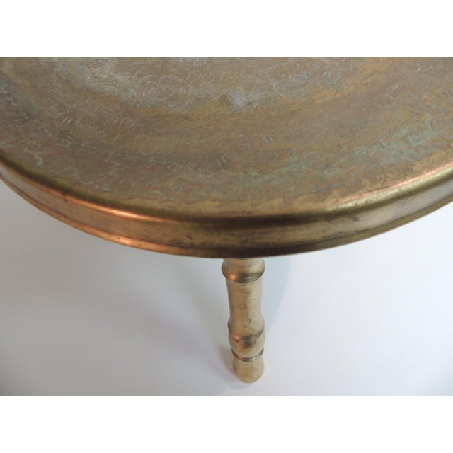Vintage Round Indian Brass Milking Stool For Sale - Image 4 of 5